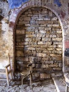 Acceso tapiado a la capilla norte desaparecida