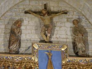 145. Villalcázar de Sirga. Santa María la Blanca.Retablo del Altar Mayor. Calvario