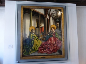 573. Konrad Witz. Sainte Madeleine et Sainte Catherine dans une église. Hacia 1440