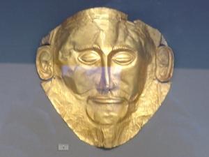 706. Atenas. Museo Arqueológico Nacional. Máscara de oro atribuida a Agamenón. 1500 aC