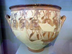 723. Atenas. Museo Arqueológico Nacional.. Vasija de los guerreros. Acrópolis de Micenas. 1200-1100 aC
