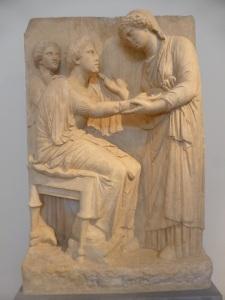 732. Atenas. Museo Arqueológico Nacional. Estela procedente de plaza Omonia. 330 aC