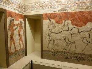 762. Atenas. Museo Arqueológico Nacional. Pinturas de Santotini (Acrotiri o Thera). Frescos con los boxeadores y antílopes