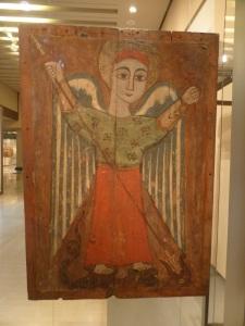 782. Atenas. Museo bizantino. Ícono copto con un arcángel. XVII