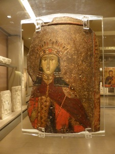 786. Atenas. Museo bizantino. Ícono de dos caras.Santa Catalina. De Berroia. Segunda mitad del XIV