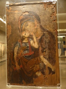 787. Atenas. Museo bizantino. Ícono con la Virgen de la Ternura (Glykophilousa). Tesalónica. XII