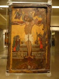 793. Atenas. Museo bizantino. Ícono de dos caras. Crucifixión. Rodas. XV