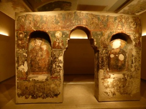 797. Atenas. Museo bizantino. Iconostasio. Pantocrátor, Virgen  Hodegetria y santos. XVII