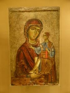 801. Atenas. Museo bizantino. Ícono con la Virgen Hodegetria. Chipre. Principios del XIII