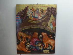 1168. Museo Nacional. Daniel en la fosa de los leones. Escuela cretense-veneciana. XVII