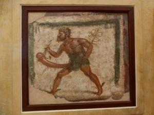 344. Nápoles. Museo Arqueológico Nacional. Gabinete secreto. Enseña de tienda con Mercurio. Pompeya. Siglo I.