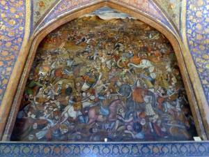 457. Isfahán. Palacio Chehel Sotun. Batalla de Karnal entre Nader Shah Afshar y el rey de la India (1756)