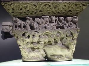 011. Pamplona. Museo de Navarra. Maestro del claustro de la catedral de Pamplona. Capitel con escenas de la vida de Job. Cara 1. 1140-1150.
