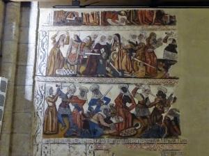 124. Mondoñedo. Catedral. Pinturas procedentes del antiguo coro,. Hoy en los muros de la nave
