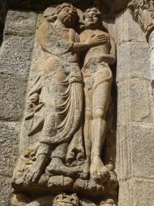 277. Santiago de Compostela. Portada oeste de Platerías. Creación de Adán. Maestro puerta Francígena