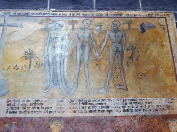 226. Ennezat. San Víctor y Santa Corona. Fresco con el reencuentro de vivos y muertos. Siglo XV