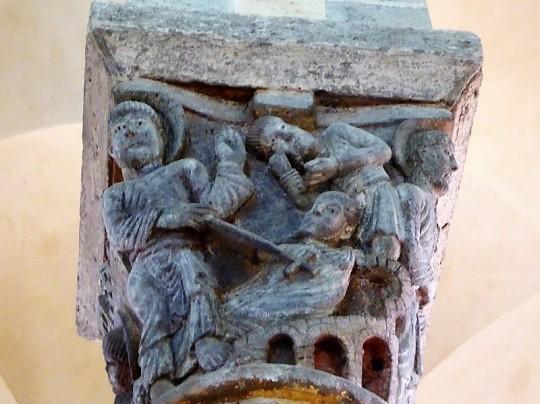Capitel coro 3. San Nectario resucita un muerto