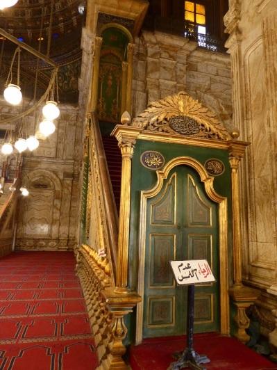 1035. El Cairo. La Ciudadela. Mezquita de Alabastro o de Mohammad Alí. El minbar