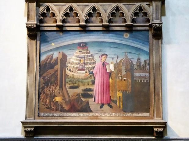 169. Duomo. Dante y sus mundos. Fresco de Domenico de Michelino. 1465