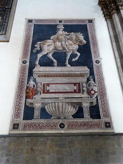 170. Duomo. Monumento al condottiero Niccolo da Tolentino. Freco de Andrea del Castagno. 1456