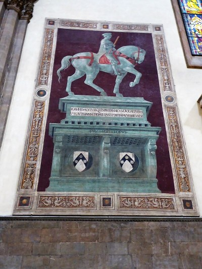 171. Duomo. Monumento al condottiero Giovanni Acuto. Fresco de Paolo Uccello. 1436