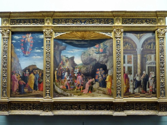 323. Los Uffizi. Epifanía, Circuncisión, Ascensión. A. Mantegna. 1463-1464