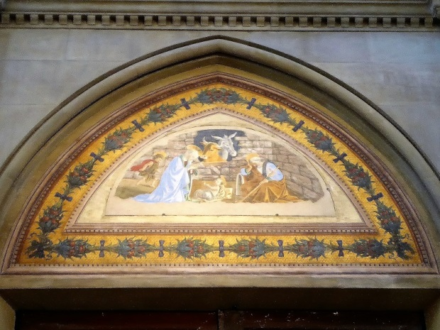 909. Santa Maria Novella. Luneta en la contrafachada. Natividad. Botticelli. 1475
