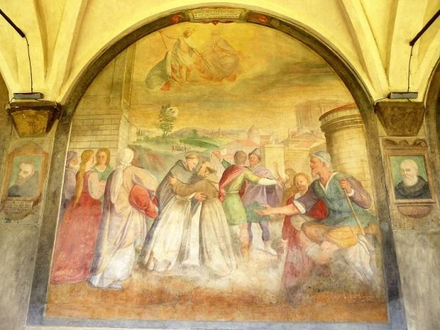 934. Santa María Novella. Claustro grande. Encuentro entre Santo Domingo y San Francisco. Santi di Tito. Hacia 1580