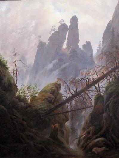 435. Oberes Belvedere. Paisaje de rocas en las montañas areniscas del Elba. C. D. Friedrich. 1822-1823